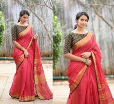 Kerala Saree Blouse Designs, Cotton Saree Blouse Designs, Blouse Patterns, Blouse Designs High Neck, Fancy Blouse Designs, Stylish Sarees, Trendy Sarees, Stylish Blouse Design, Sarees Online