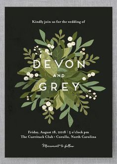 Browse unique wedding invitation ideas for modern brides | Black Invites with Foliage Illustration from @minted