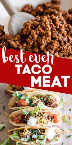 The absolute BEST ground beef Taco Meat! An easy to make homemade taco seasoning and a secret ingredient that makes this the most flavorful and juiciest taco meat EVER! Perfect for loading up on soft or hard shell tacos and topping with all your fa Homemade Taco Seasoning, Homemade Tacos, Taco Meat Seasoning, Beef Dishes, Food Dishes, Main Dishes, Mexican Food Recipes, Dinner Recipes, Healthy Taco Recipes