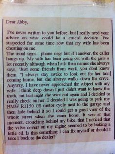 Dear Abby, my 1150 GS has a leak.