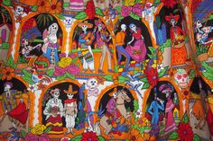 Close up view of the AMAZING Alexander Henry Day of the Dead fabric. Prewashed. This fabric is substantial and is vibrant and perfectly screened, The detail is visuallt arresting.