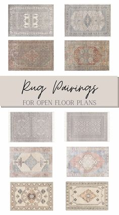 A guide for the best sizes of rugs for different rooms, the best rug materials for different uses, and ways to pair them in open floor plans. High Pile Rug, Blogger Home, Farmhouse Floor Plans, Porch Flooring, Square Rugs, Natural Fiber Rugs, Washable Rugs, Modern Farmhouse Decor, Furniture Legs