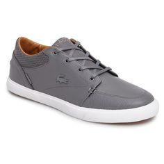 Men's Lacoste 'Bayliss' Sneaker ($90) ❤ liked on Polyvore featuring men's fashion, men's shoes, men's sneakers, dark grey leather, mens perforated shoes, mens sneakers, lacoste mens sneakers, mens shoes and lacoste mens shoes