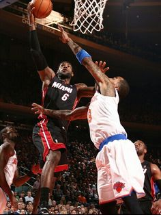 LeBron James lays it up against JR Smith 2/1/2014.  Heat beat the Knicks 106 to 91!!!
