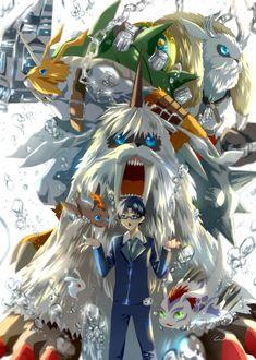 Digimon Adventure Tri: Joe with Gomamon's Evolutions (Pichimon-Bukamon-Gomamon-Ikkakumon-Zudomon-Vikemon) Digimon Adventure Tri, Digimon Fusion, Pokemon Fusion, Digimon Wallpaper, Gatomon, Digimon Frontier, Digimon Tamers, Digimon Digital Monsters, Manga Games