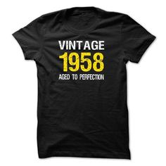 VINTAGE 1958 Aged To Perfection T-shirt  Birth years sh - #student gift #gift packaging. LIMITED TIME => https://www.sunfrog.com/Birth-Years/VINTAGE-1958-Aged-To-Perfection-T-shirt-Birth-years-shirt.html?68278