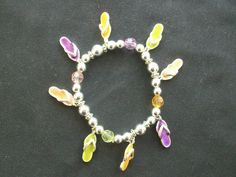 $2.75 Silver Tone Stretch Flip Flop Bracelet (51915-1020) jewelry, bracelets, beach #Beaded