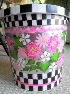 10 Gallon Hand Painted Galvanized Can by krystasinthepointe on Etsy