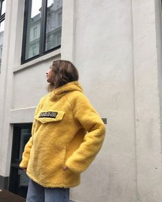 Winter Outfit Inspiration   Napapijri Yellow Teddy Hoodie   Urban Outfitters   Men's   Tops #uoeurope #urbanoutfitters #uomens #uoonyou