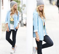 Pura Vida Hipster Beanie, Bella Dahl Split Back Button Down In Faded Light Wash, Chaser Marianne Faithful Venue Tee, J Brand Skinny Stretch Jeans, Converse All Star Sneakers