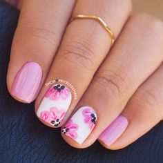 awesome Lilac & pink floral nails ✨...