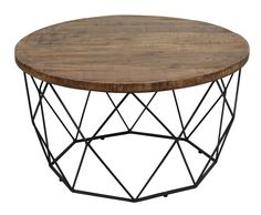 Chester Wood and Iron Geometric Round Coffee Table by Kosas Home (Mango wood and iron coffee table), Black Round Wooden Coffee Table, Coffee Tables, Teak, Dark Wood Stain, The Doors, Wooden Tops, Deco Table, Fashion Room, Cocktail Tables