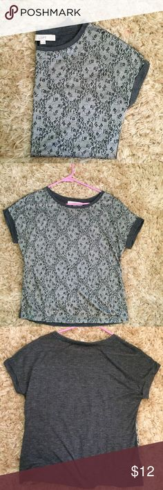 LOFT Grey Top XS NWOT metallic short sleeved top. Very soft. Could fit a small as well. LOFT Tops Tees - Short Sleeve