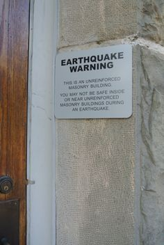 Earthquake warning on church