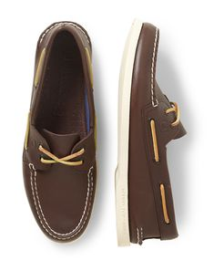 Sperry Top-Sider Leather Boat Shoes An authentic original by name, Sperrys classic boat shoe is an American menswear staple and a must-have this time of year. The democratic design has worked for a myriad of stylish guys since 1935, from businessmen to beat poets, and hasnt lost a step since. Put a pair with an essential khaki suit and you wont be sorry.