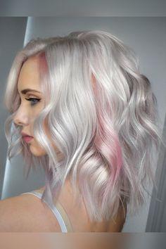Pink Blonde Hair, Platinum Blonde Hair Color, Blonde Hair Looks, Hair Color Pink, Hair Color And Cut, Shades Of Blonde Hair, Blonde Hair With Color, Hair Colors, Silver White Hair