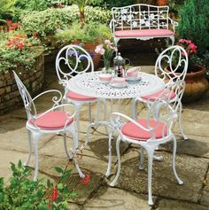 Elegant Cly Cast Aluminum Outdoor Furniture White And Pink Aluminium Garden Exterior Inspiration