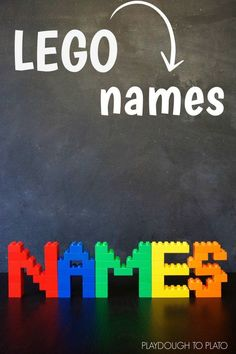 Awesome name activity for LEGO fans. Build a LEGO name! Awesome name activity for LEGO fans. Build a LEGO name! Name Activities, Activities For Kids, Camping Activities, Activity Games, Festa Ninja Go, Deco Lego, Lego Hacks, Playdough To Plato, Lego Challenge