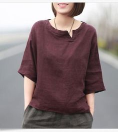 Women Chinese Style Vintage Summer Casual Loose T-Shirt Blouse Cotton Linen Tops