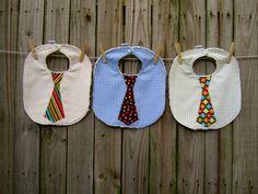 3 Stylish Neck Tie Baby Bibs  Great Baby Shower by AudraJoHandmade, $31.00