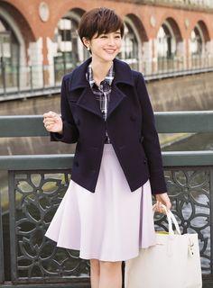 講談社 withオフィシャルサイト   【上品ネイビーちなみ】day3 女の子Pコート×ラベンダースカート