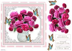 Beautiful carnations in a vase all set in a sweet little frame. Great design for many occasions. Decoupage the flowers and butterflies. Printable Crafts, Printables, Bank Holiday Weekend, Gift Vouchers, Gold Stars, Carnations, Paper Size, Decoupage, Card Making