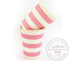 Pink striped paper cups | Paper Cups | Party Collection | The Little Big Company Pty Ltdparty, glass bottles, swizzle sticks, beverage dispenser, birthday, gift, rock candy