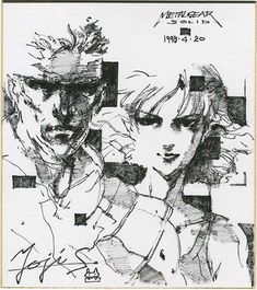"Yoji Shinkawa / Handwritten shikishi ""Metal Gear Solid"" (Solid Snake and Meryl Silverberg)"