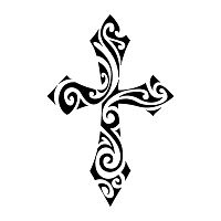 tattoo - Cross with no straight edges, but made of swirls and tribal elements.  Same can be said of faith: it´s not something that can be kept inside preestablished borders and rituals and very seldom it can be reached through straight, easy ways, but through paths that often seem to be random, and seldom are.