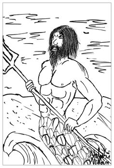 poseidon the god of sea and ocean in a coloring page from the gallery