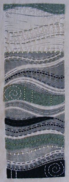 I see the sea......hand stitched lino print on linen.