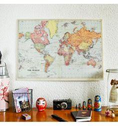 Carte du monde ancienne réedition au style vintage