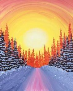 Find the perfect thing to do tonight by joining us for a Paint Nite in Avonmore, PA, featuring fresh paintings to be enjoyed over even fresher cocktails! Winter Painting, Winter Art, Fantasy Landscape, Winter Landscape, Cool Landscapes, Landscape Paintings, Easy Paintings Of Nature, Landscapes To Paint, Christmas Paintings