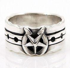Horseshoe Star Sterling Silver Mens Ring.