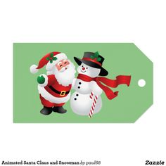 Animated Santa Claus and Snowman Pack Of Gift Tags