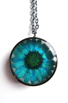 Teal Daisy Resin Pendant Necklace Real daisy by ScrappinCop