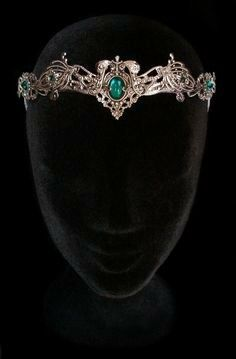 Elven Medieval Crown Headdress Tiara Circlet Nymph Dryad Green Emerald Wiccan Fairy Elvish Queen Hair Jewellery Wedding Bridal There are … Bride Hair Accessories, Jewelry Accessories, Bride Tiara, Circlet, Fantasy Jewelry, Fantasy Hair, Fantasy Makeup, Tiaras And Crowns, Crown Jewels
