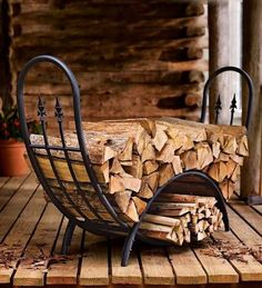wrought iron wood storage - Google Search