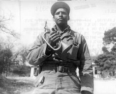 Borinqueneer Cpl. Juan E. Landrau with captured enemy bugle, April 30, 1951, in Korea. Learn more at http://www.65thCGM.org