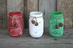 Painted and distressed mason jars ~ rustic, shabby chic, farmhouse Christmas decor