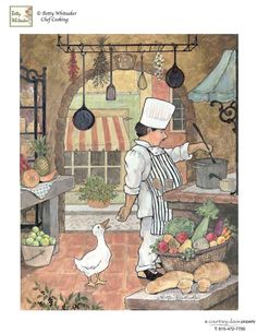 Betty Whiteaker - Chef With Goose fine art preproduction . Explore our collection of Betty Whiteaker fine art prints, giclees, posters and hand crafted canvas products Chef Kitchen Decor, Kitchen Art, Decoupage Vintage, Vintage Art, Illustrations, Illustration Art, Chef Pictures, Foto Transfer, Creation Photo