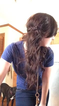 Curled hair with braided half crown