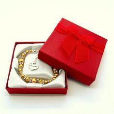 Golden 'Graduated Glass Pearl & Rhinestone' bracelet