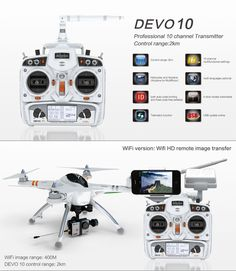 Walkera QR X350PRO RTF with G-2D Gimbal and White Devo 10 Transmitter   Package Includes:  •1x  QR X350PRO RTF3  Quadcopter •1x  Devo 10 Radio Controller (WHITE)  •1x  5200mAh LiPo Battery for the X350PRO •1x  Extra propeller blade set •1x  LiPo Battery Charger •1x  G-2D Brushless Gimbal  ** Camera Not Included** EVERYTHING YOU NEED TO FLY FPV RIGHT OUT THE BOX!