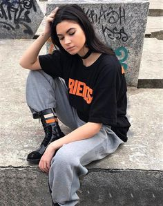 Choker, oversized graphic tee, grey pants & combat boots by mariavittoriareale