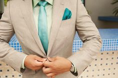 teal and grey groom suit Destination Wedding in St. Wedding Groom, Wedding Suits, Wedding Attire, Blue Wedding, Wedding Colors, Dream Wedding, Teal Tie, Teal And Grey, Purple Teal