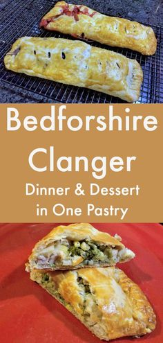 A quintessentially British pasty, the Bedfordshire Clanger has both savory and sweet components, Perfect for lunch or dinner via # british Baking Bedfordshire Clanger - Lunch or Dinner and Dessert in One British Baking Show Recipes, British Bake Off Recipes, Welsh Recipes, Great British Bake Off, Bedfordshire Clanger, British Dishes, Savoury Baking, English Food, Dessert For Dinner