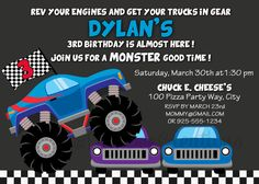 Monster Truck Birthday Invitation / 5x7 / by LalaDeeCreations, $10.00