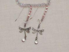 Dragonfly dangling earrings by EnchantedRoseProduct on Etsy, $14.00