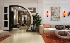 New Pop arch design House Arch Design, House Ceiling Design, Home Room Design, Interior Design Living Room, Living Room Designs, Interior Decorating, Decorating Ideas, Living Room Modern, Living Room Decor